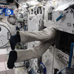 Japanese astronaut Akihiko Hoshide is busy working on space station
